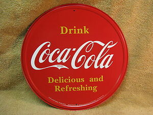 Coke Coca Cola Pop Soda Kitchen Round Tin Metal Sign Wall Decor