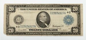 Series of 1914 $20 Federal Reserve Note in Fine Condition Cleveland 4D