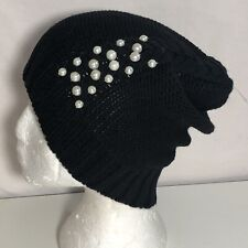 *Badgley Mischka Embellished Pearls Fishtail Cable Knit Beanie Black