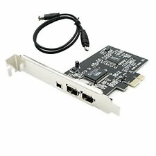 PCIE PCI-E Firewire IEEE 1394 2+1 3 Port Card Work With Windows 7 32/64 + Cable
