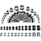 64×Gauges Ear Stretching 14G-00G Stainless Steel & Acrylic Tunnel Plug Taper Set