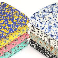 Cotton Fabric by FQ Flower Leaf Damask Vine Vintage Retro Floral Patchwork VK119