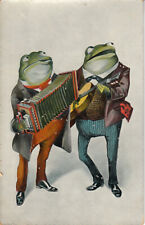 Dressed frogs making music