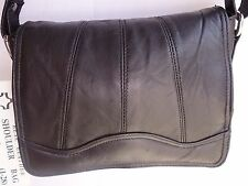 Soft Leather Flap over Shoulder Bag Small Cross Body Black with Many Features