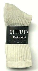 3 Pairs RUSTIC RIDGE Premium Merino Wool Work Beige Crew Sock SZ 9-11,USA.