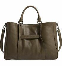NWT LONGCHAMP 3D Khaki Olive Leather Medium Tote Large Shoulder Taupe Bag