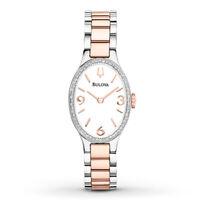 Bulova Women's Quartz Oval White Dial Two-Tone Bracelet 23mm Watch 98R190