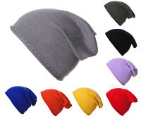 Mens Ladies 100% Plain Merino Wool Slouch Slouchy Beanie Hat Hats cashmere lambs