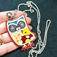 collana con pendente gufo smalto policromo old in stock - owl design pendant