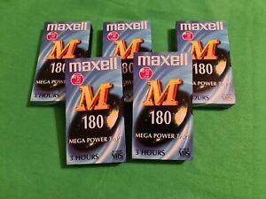5 x New Blank Maxell 180 VHS Video Mega Power Tapes