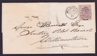 VICTORIA 1871 2d Lilac QV ON COVER MELBOURNE TO WILLIAMSTOWN  (BB63)