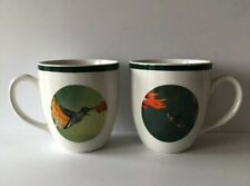 National Wildlife Federation Pair Of Hummingbird 16 Oz Mugs With Green Trim