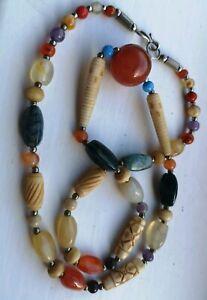 Long Mixed Semi Precious Stone Boho Necklace