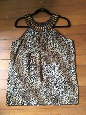 Ultra Pink Leopard Print Long Tank Top Blouse Sequins Sleeveless Size Large L