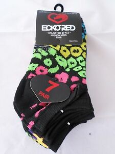 7 Pair Ecko Red No Show Socks Blue Black Pink Stripe Yellow 4-10 1/2