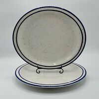 "Set of 2 VTG Syracuse China KINGS INN 12"" Oval Dinner Plate Platter Cobalt Blue"