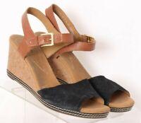 Clarks Helio Jet Slingback Black Wedge Casual Heel Sandals Women's US 11M