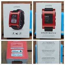 New! Pebble Smart Watch for iPhone and Android Devices (Red) - Sealed