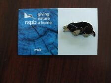 RSPB GNaH mole Metal Pin Badge on Blue FR Card