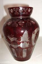 Vase Böhmen böhmisch rotes Überfangglas Glas mit Tiermotiven guter Zustand