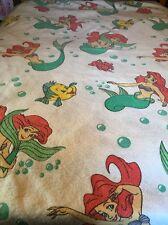 Vtg Disney Little Mermaid Full Queen Polyester Blanket Ariel Flounder Sebastian