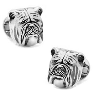 Ox and Bull Trading Co. Sterling Silver 3D Bulldog Cufflinks