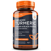 Organic Turmeric (Curcumin) + Ginger 1440mg - 180 Vegan Capsules - Joint Care