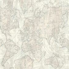 LUXE VOYAGER MAP GLITTER WALLPAPER PLATINUM / GREY - CROWN M1132 TEXTURED
