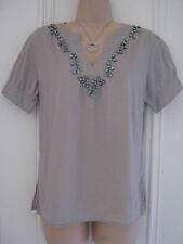 Gap size M (UK 12-14) beige cotton blouse with beads around neckline
