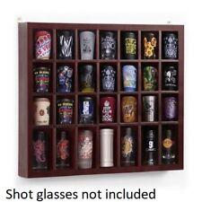 28 Shot Glass Display Case Organizer Rack Travel Wall Cabinet Ornament Box Wood