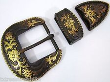 "BELT BUCKLES metal casual western accessories copper 3pc BUCKLE SET 1.5"" NWOT!"