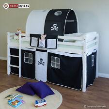 Hochbett Spielbett Kinderbett Pirat Tunnel Vorhang Tasche schwarz 90x200 Kiefer
