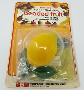 Vintage Fibre Craft Make Your Own Beaded Fruit Lemon Ornament Beading Craft Kit