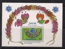 Micronesia Scott 121 MNH EXPO '90 Souvenir Sheet, Flowers - MI-7