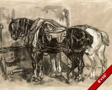 DRAFT HORSES IN STABLE BLACK & WHITE CHALK PAINTING ART REAL CANVAS GICLEEPRINT