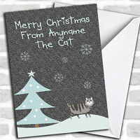From Or To The Grey Tabby Cat Christmas Customised Card