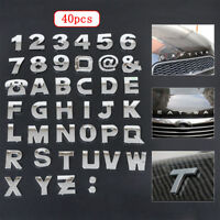 40Pcs DIY 3D Chrome Emblem Stickers Alphabet Letter Number Symbol Badge Decal