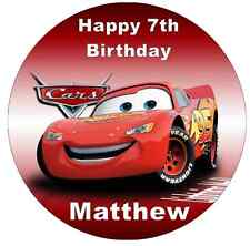 Disney Cars Lightning Mcqueen Personalised Cake Topper Edible Wafer Paper 7.5""