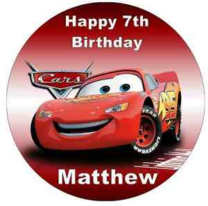 """Disney Cars Lightning Mcqueen Personalised Cake Topper Edible Wafer Paper 7.5"""""""
