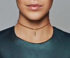 PANDORA Tan Leather Choker Necklace & Feather Pendant 14K Gold Vermeil 397197
