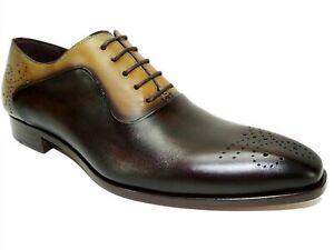 Mezlan Men's Two-Tone Oxfords 19307 Brown/Olive/Sol Size 9 M