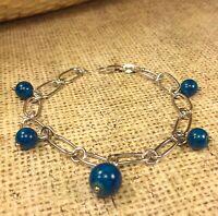 "925 Sterling Silver Azurite Beads Gemstone 7"" Bracelet"