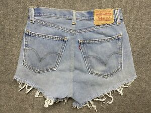 Levi's 501 Denim Shorts Womens 29 Cut Off Relaxed Fit Reworked Blue Adult