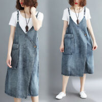 Womens Loose Washed Denim Overall Dress Jean Pinafore Suspender Skirt Baggy Plus