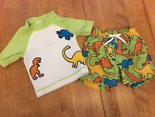 Gymboree Dinosaurs Rash Guard & Swim Trunks Suit 3-6 Mos Set