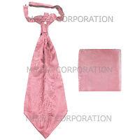 New Vesuvio Napoli Men's Polyester Ascot Cravat Necktie Hankie Paisley Pink