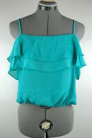 NWT Blue Flounce Chiffon Boho Crop Top Tank Blouse Cami Shirt Strappy M L XL