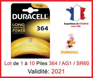 Pack Von 1 Rechts 10 Batteries 364 - SR621SW - AG1 - SR60 - Duracell / Uhr 1,5V