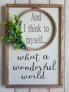 What a wonderful world - Wood sign - Entrance Hall wood sign, gallery wall wood