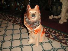Vintage Chalkware German Shepherd Dog Collie Statue Figure-LQQK